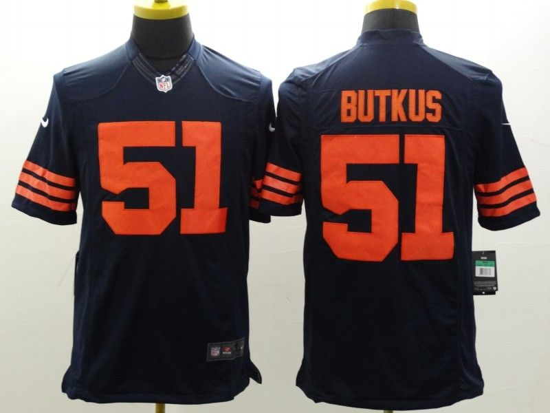 Chicago Bears 51 Dick Butkus Navy limited Throwback Jersey  f740c7f91