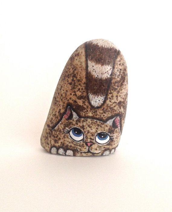 Hand Painted Rock Cat Miniature. Petrified Cat by qvistdesign