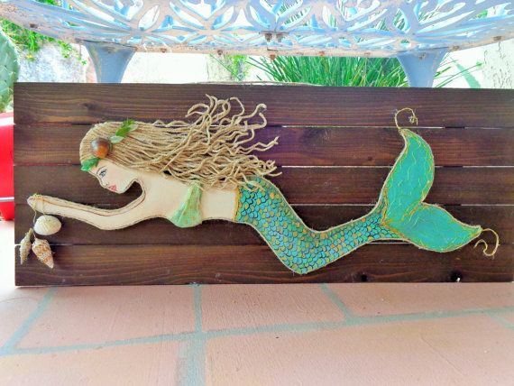 Wooden Mermaid Wall Hanging mermaid decor- original beach art on wood- coastal wall hanging