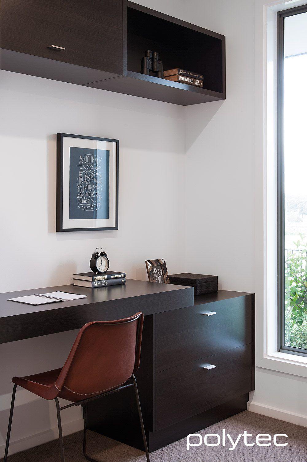 Laminate desk and shelving in Natural Oak Matt. Melamine ...