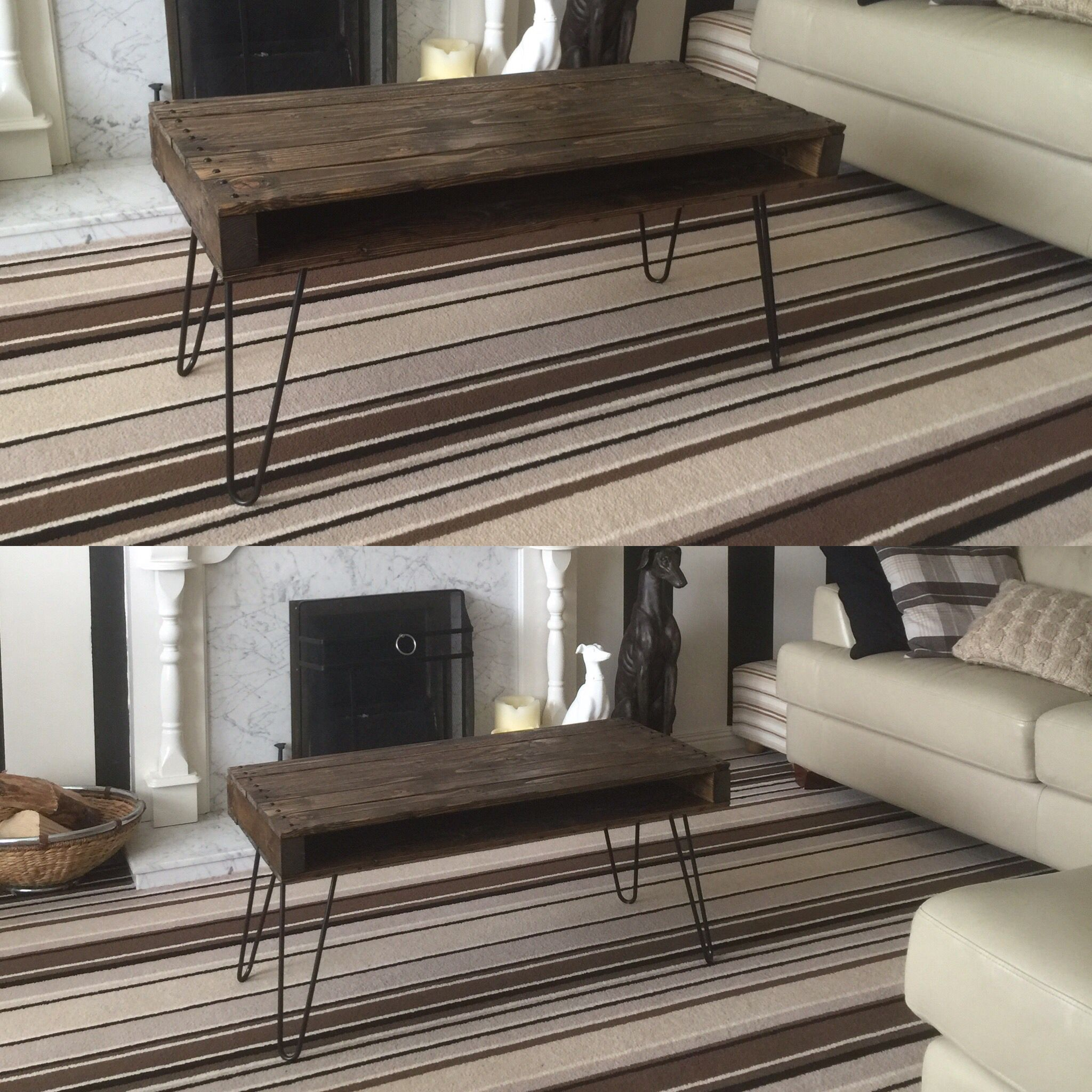 Pallet wood coffee table hairpin legs for that mid century finish