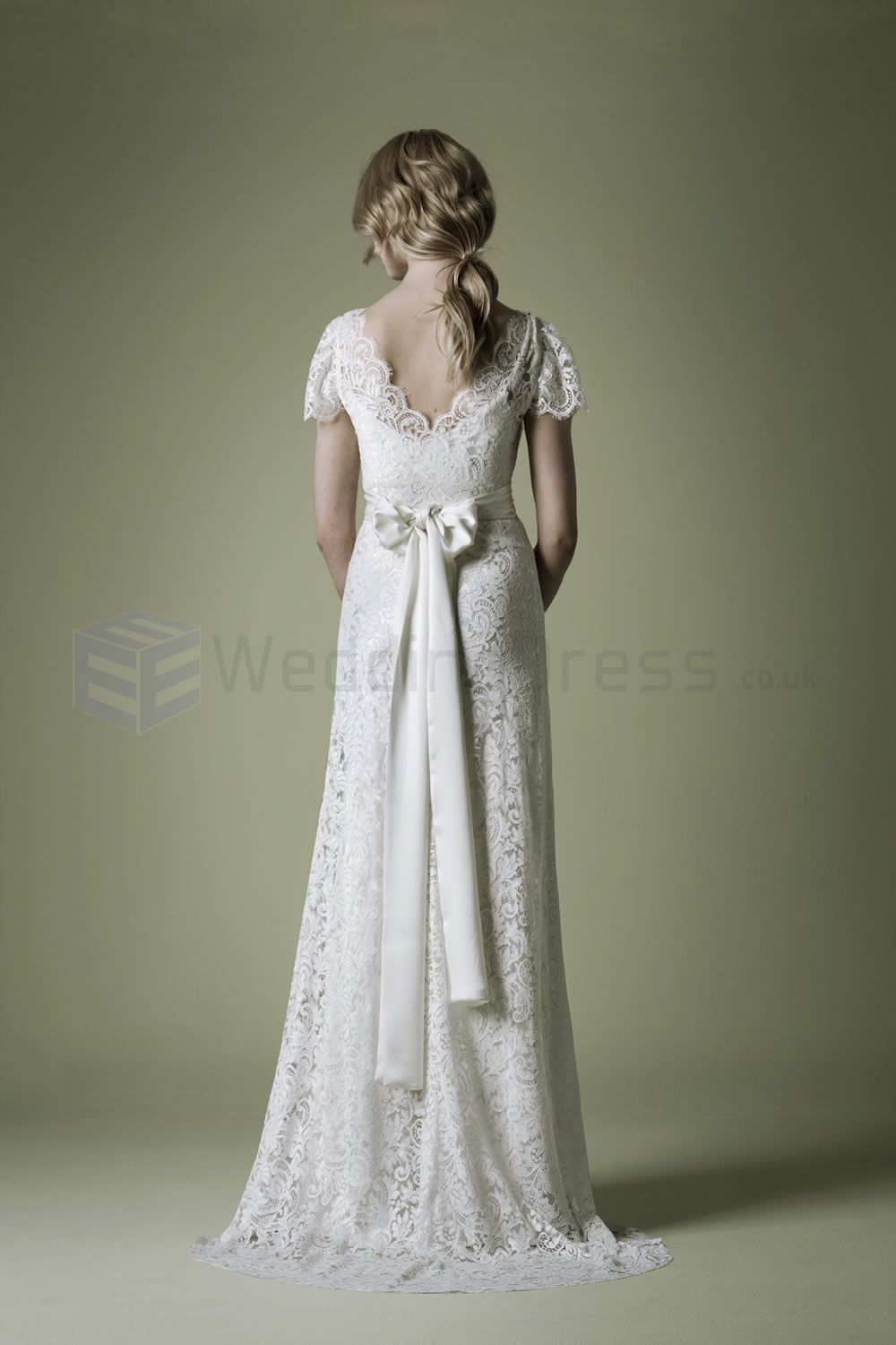 1930s Style Ornate French Lace Ivory Crossover Bodice Deep V ...