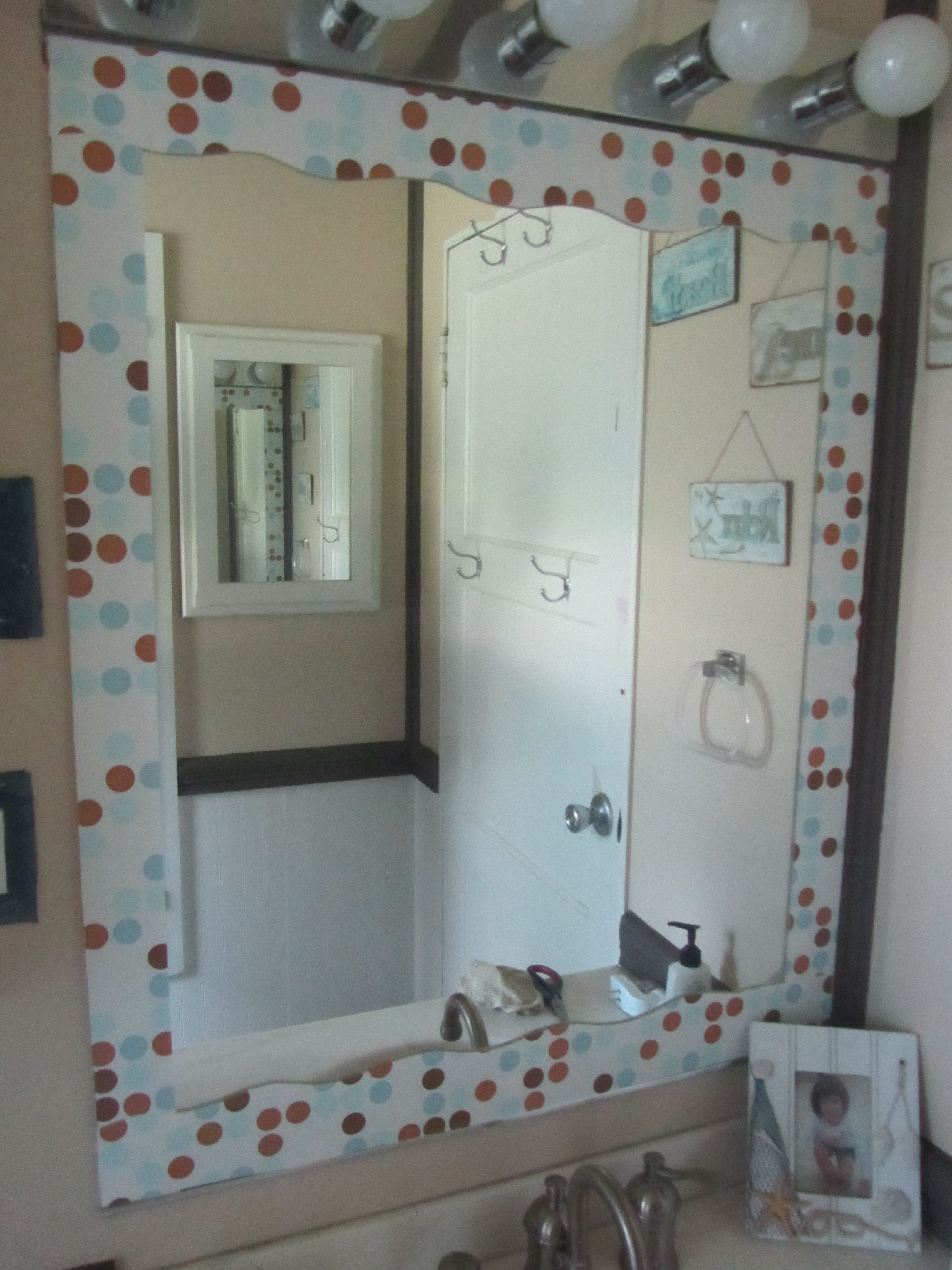 Contact paper border on mirror DIY