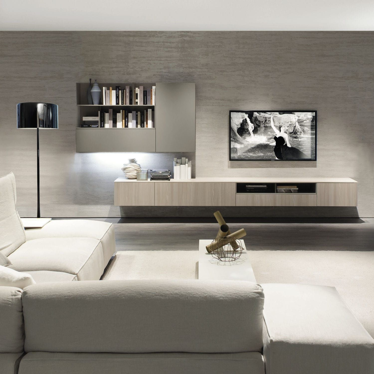 Contemporary Tv Wall Unit Elm Melamine Z409 Zalf Family Room  # Image Deco Meuble Tv En Melamine