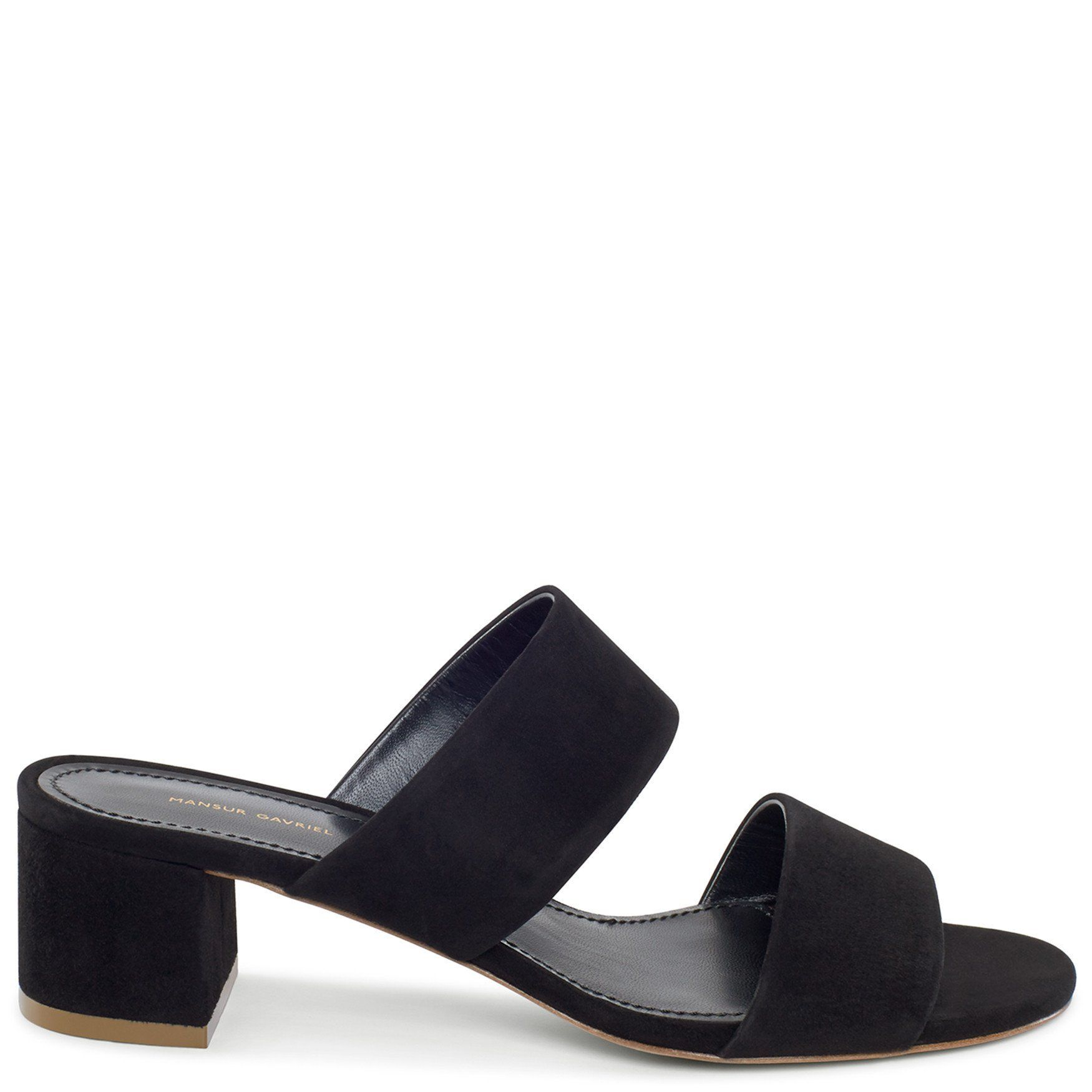 5124b3eac88 Italian suede leather black double strap sandal with calf leather insole.  40mm heel. Made in Italy.