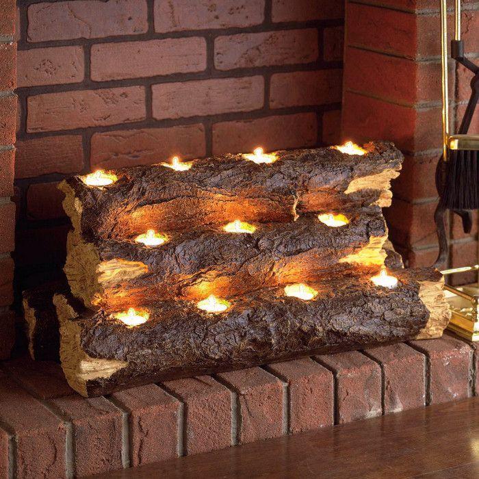 Rustic Wood Resin Tea Light Fireplace Log | Dolgok, amiket ...