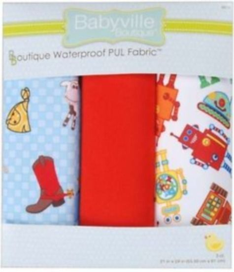 Babyville PUL BV35212 COWBOYS AND ROBOTS Set of 3 Waterproof Fabric ...