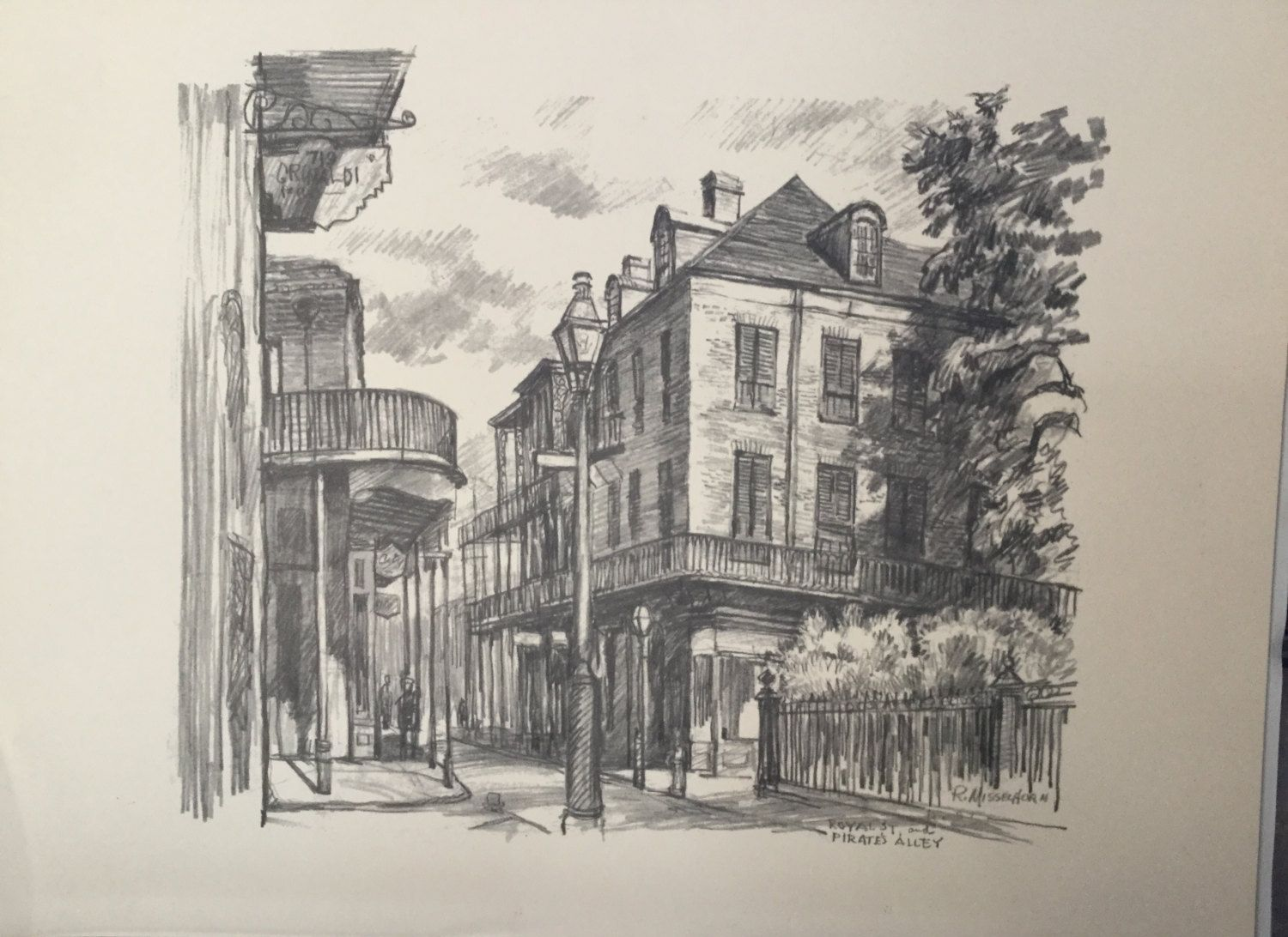 Vintage roscoe misselhorn pencil sketch new orleans pencil sketch new orleans pirates alley sketch art pencil sketch artwork by pattispickins on etsy