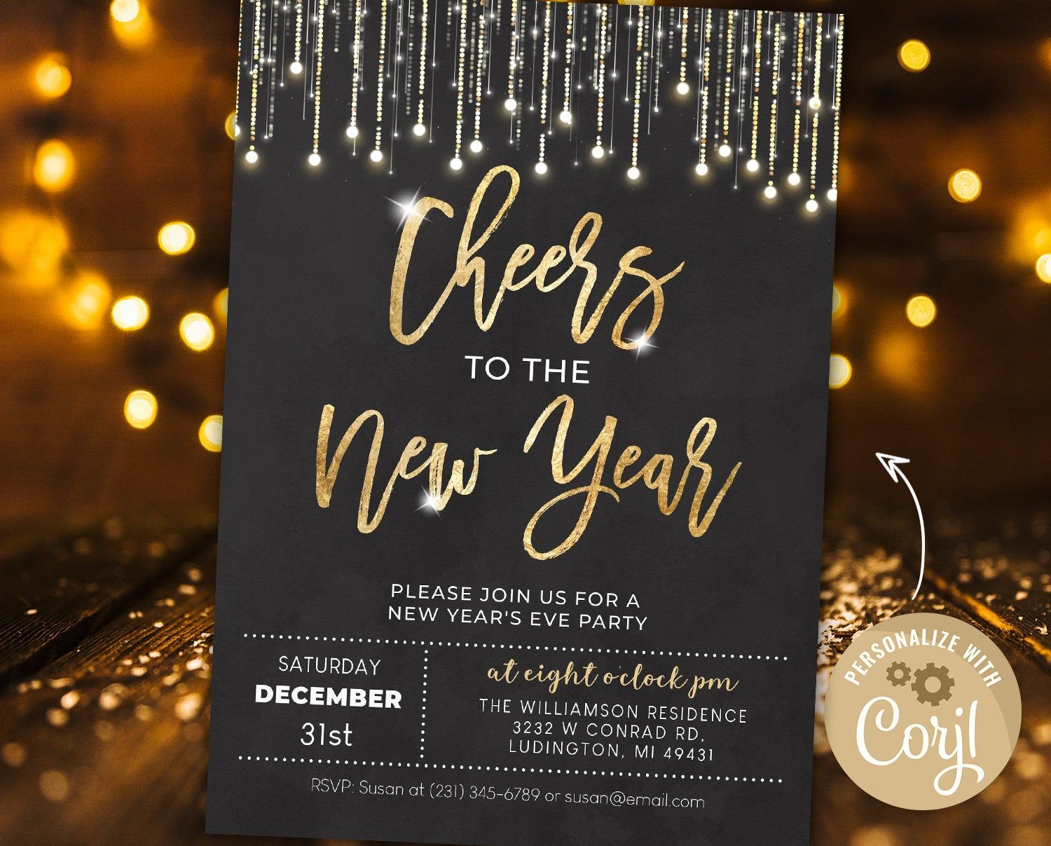 New Year S Eve Party Invitation New Years Party Invite Etsy In 2021 New Years Eve Invitations New Years Eve Party Winter Invitations