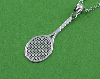 Rose Gold-plated Silver 31mm Tennis Racquets Pendant