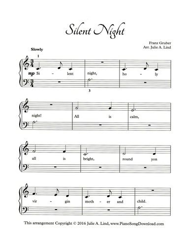 image about Free Printable Christmas Sheet Music for Piano known as Quiet Evening, absolutely free printable Xmas piano sheet tunes