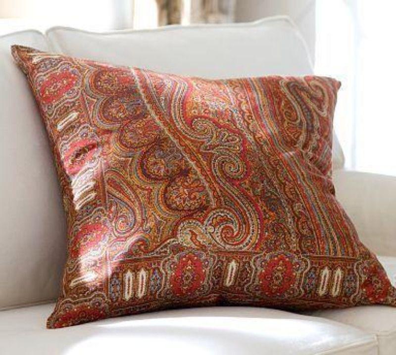 Pottery Barn Lara Red Paisley 24 X 24 Inch Decorative