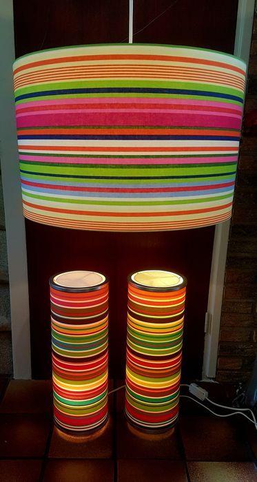drie retro design lampen flower power fraaie retro set van