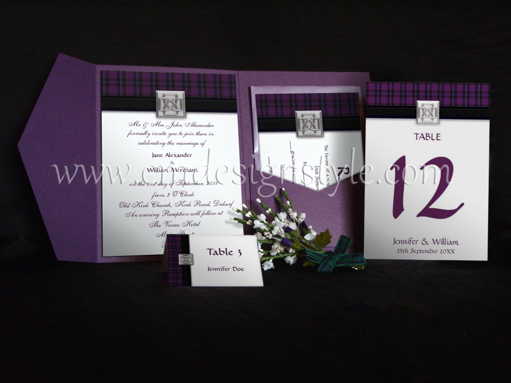 Scottish Tartan Wedding Invitations In Purple By Atrformtheheart Of