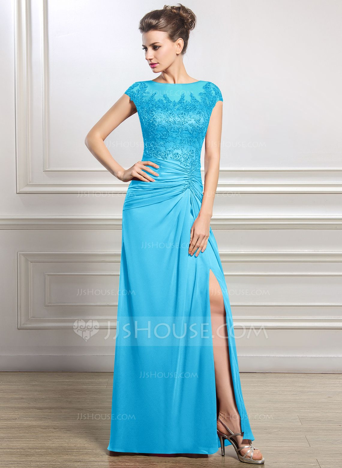 Sheath/Column Scoop Neck Floor-Length Chiffon Mother of the Bride ...