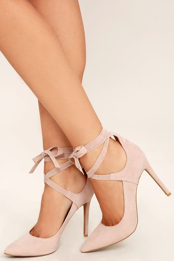 Looking Good Nude Suede Lace-Up Heels e322d917b251