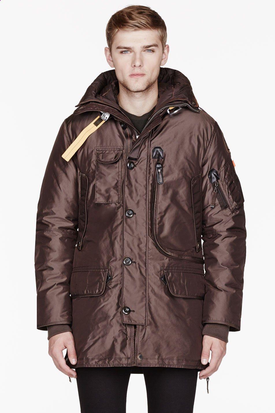PARAJUMPERS Brown Raccoon Fur Hooded Kodiak Coat