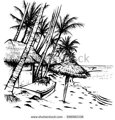 Summer Beach Sketch With Palm Trees Hovels And Umbrella Hand Drawn Vector Ilration