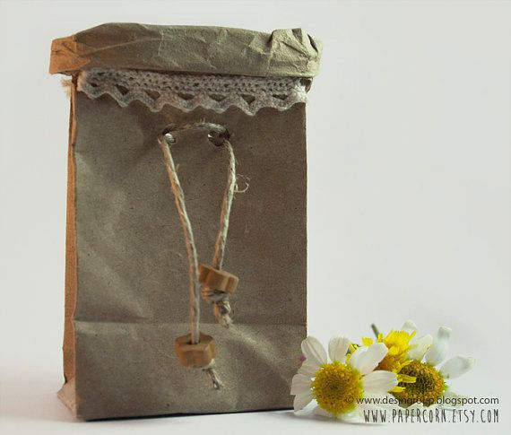 $1.64 Kraft paper bag  decorated with lace and wooden by PAPERCORN
