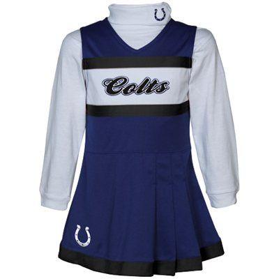 Reebok Indianapolis Colts Infant Girls Royal Blue-White 2-Piece Turtleneck  Creeper   Cheerleader Dress Set fc83cc176