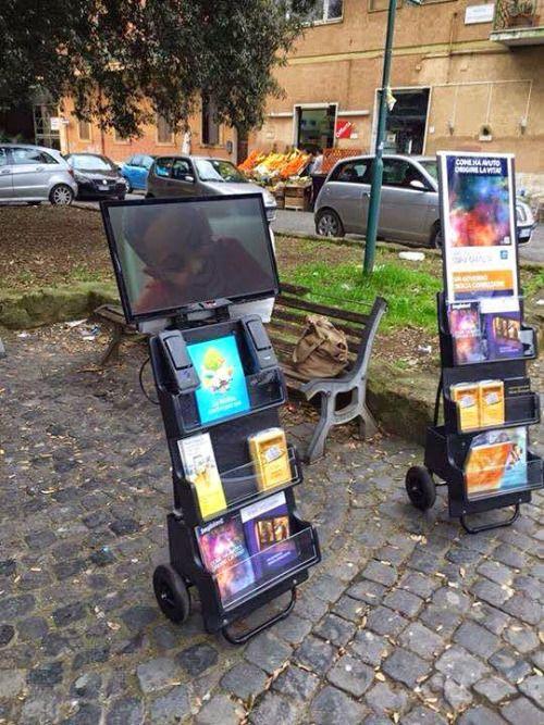 Hi-Tech Public Witnessing Literature Carts w/ video monitors for
