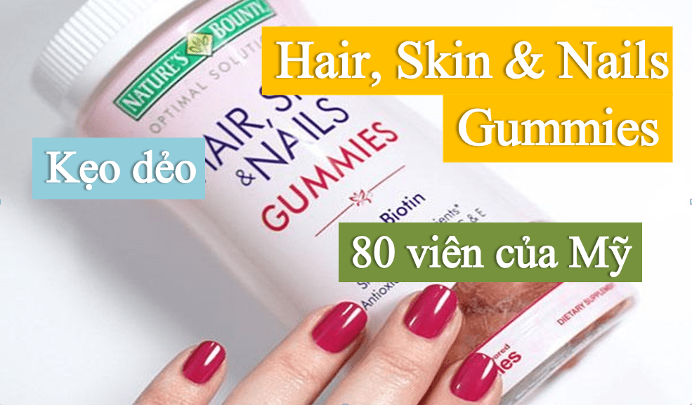 Kẹo Dẻo Nature S Bounty Hair Skin And Nails Gummies 80 Vien