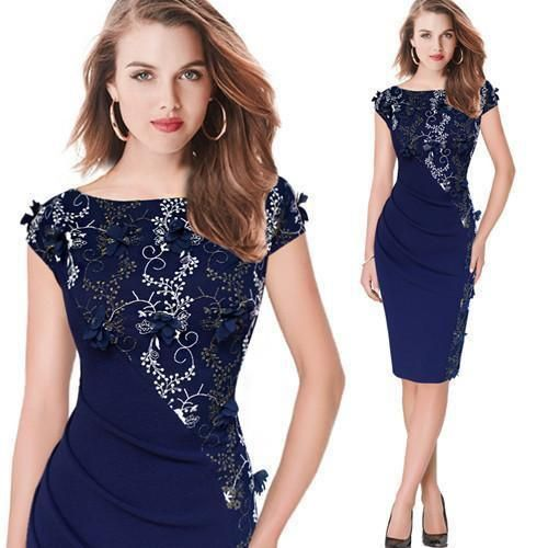 Elegant Women's Party Dress Embroidered Ruched Plus Size Sheath Pencil Dress