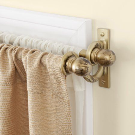Kenney Ball Double Window Curtain Rod 5 8 Inch Diameter 90 130 Length Antique Gold