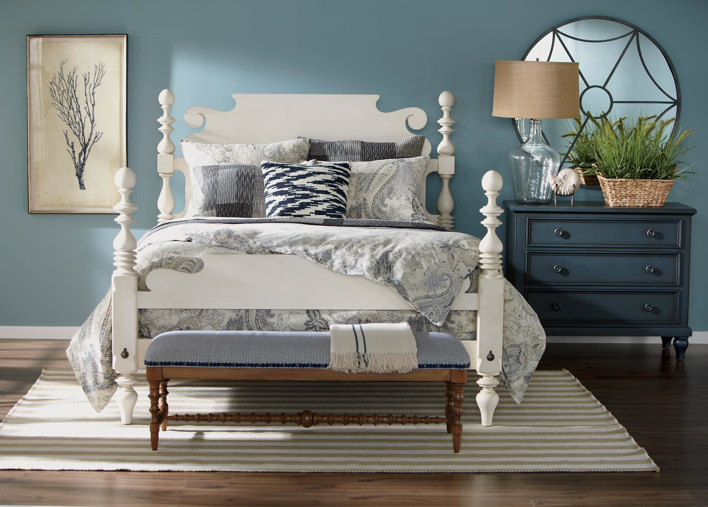 Ivory and Navy Twill Silk Throw Home, White bedroom