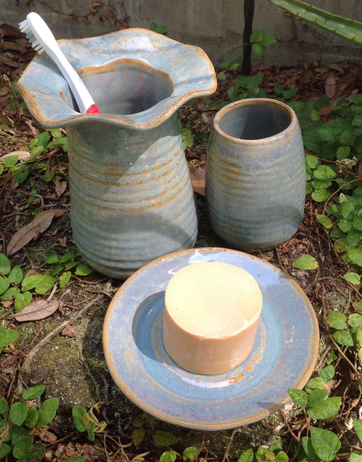 Pottery, bathroom set, soap dish, toothbrush holder, tumbler, stoneware, blue, opal by muddyme on Etsy