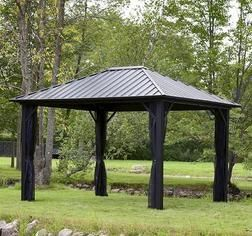 Backyard Creations 10 X 12 Steel Roof Gazebo From Menards 999 00 Gazebo Backyard Backyard Creations