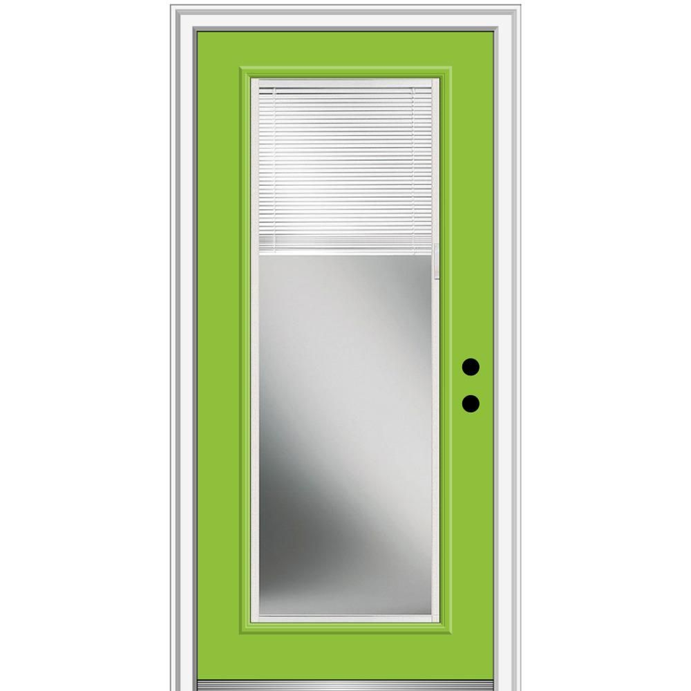 Mmi Door 32 In X 80 In Internal Blinds Left Hand Inswing Clear Full Lite Painted Fiberglass Prehung Front Door 4 9 16 In Frame Green Apple Prehung Doors Green Front Doors Tempered Glass Door