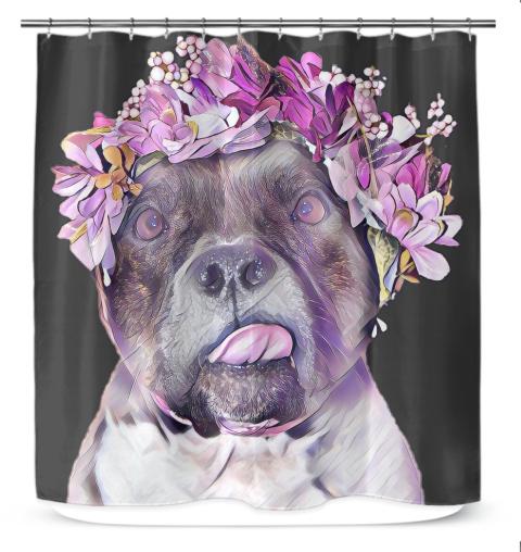 Pitbull Face Flower Mom Gift Pittie Mom Shower Curtain Gifts For Mom Pitbulls