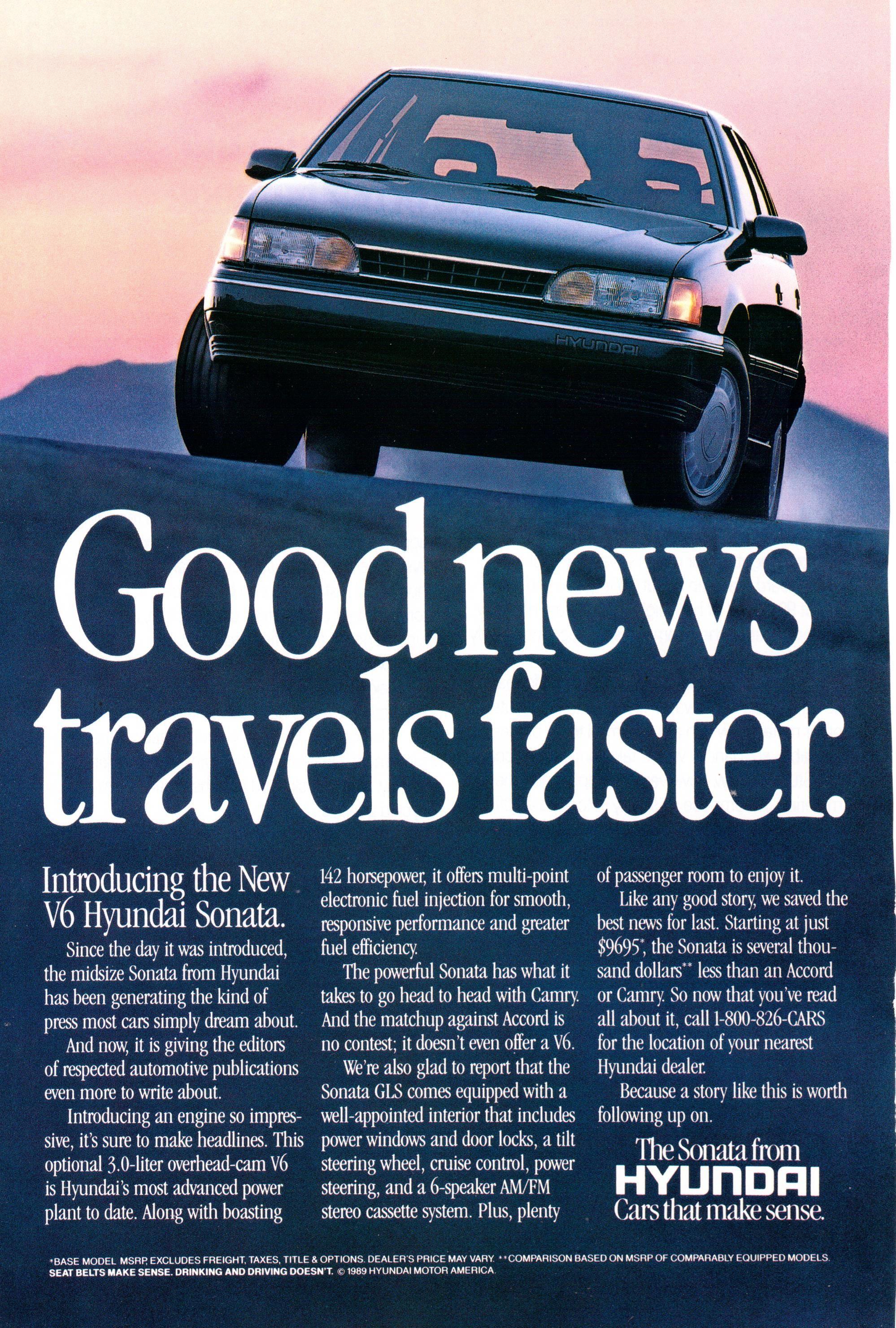 1989 Hyundai Sonata ad from National Geographic October 1989