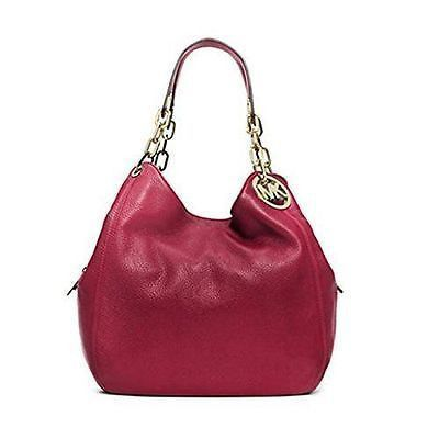 363c42e0e8c6 Michael Kors Women s Large Fulton Shoulder Tote Leather Top-Handle Hobo -  Cherry