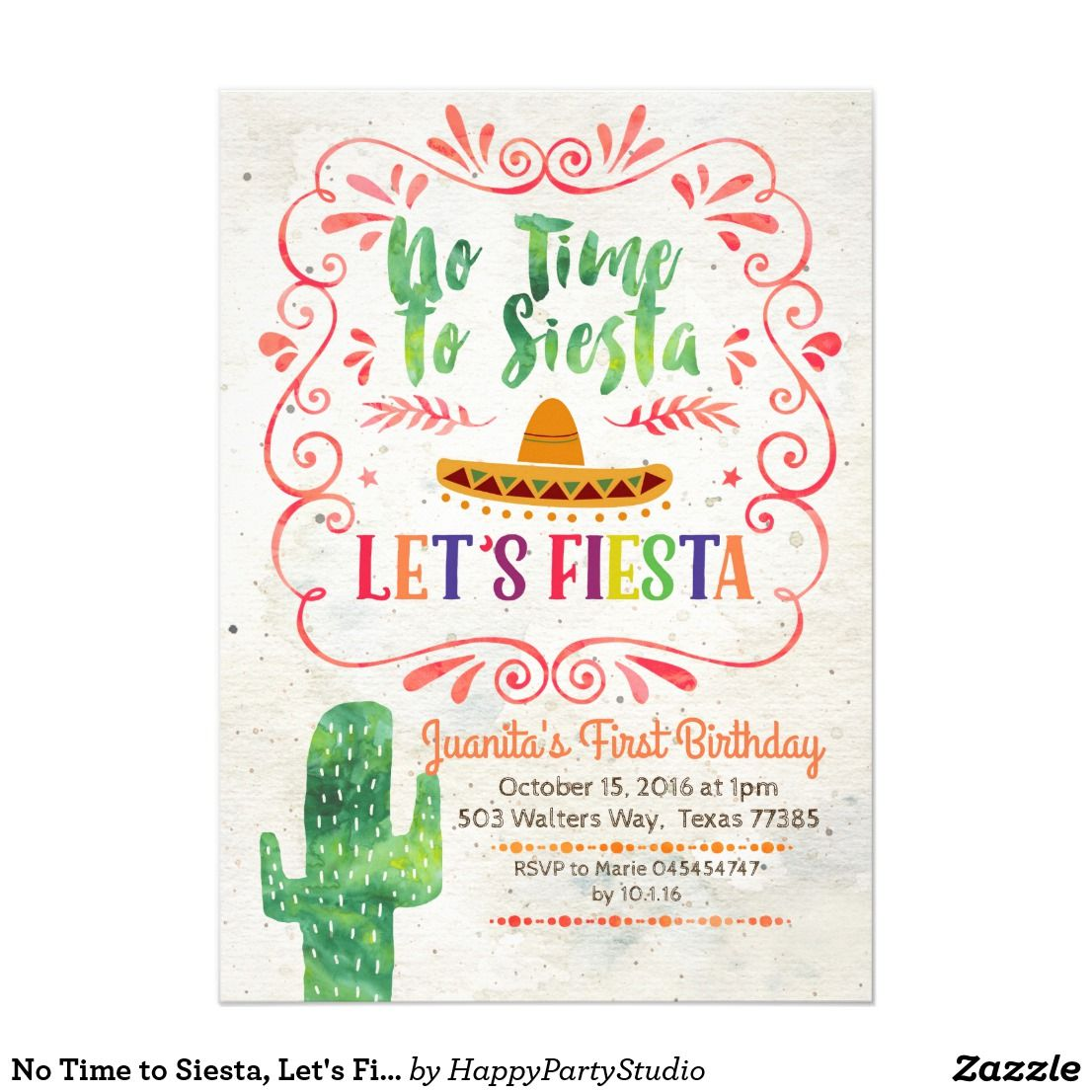 No Time to Siesta Lets Fiesta Invitation Fiesta invitations