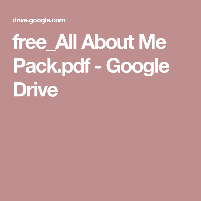 free_All About Me Pack.pdf - Google Drive
