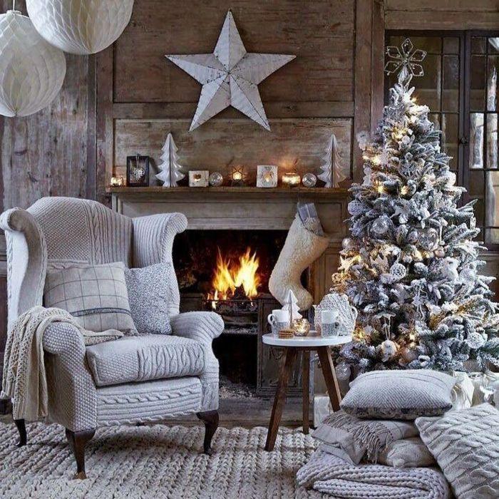 arbol navidad bonita decoracin con efecto de nevado calcetn navideo blanco pino artificial - Arbol Navidad Artificial