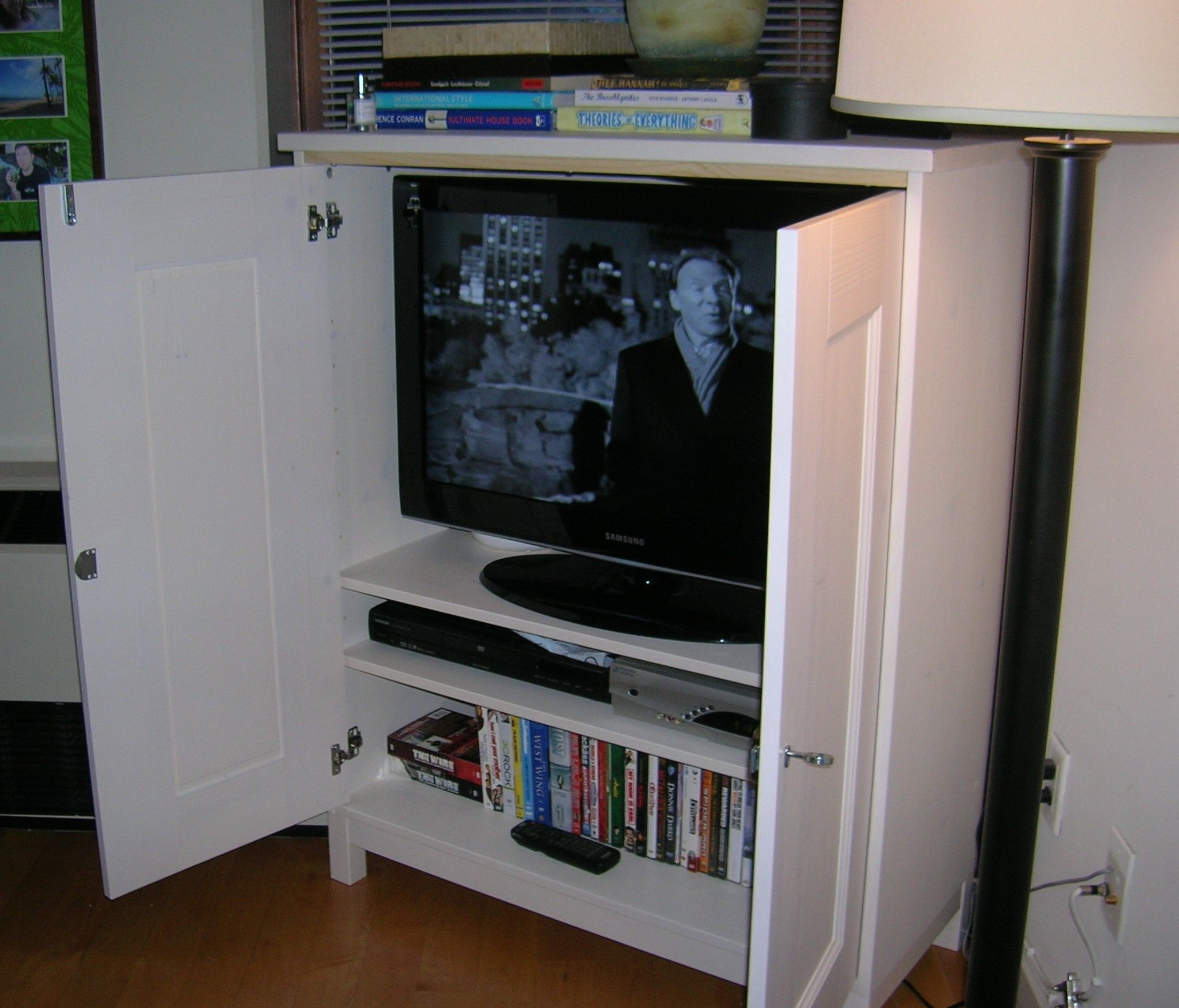 hide to tv diy for mounted the a with build doors plans wall free cabinet