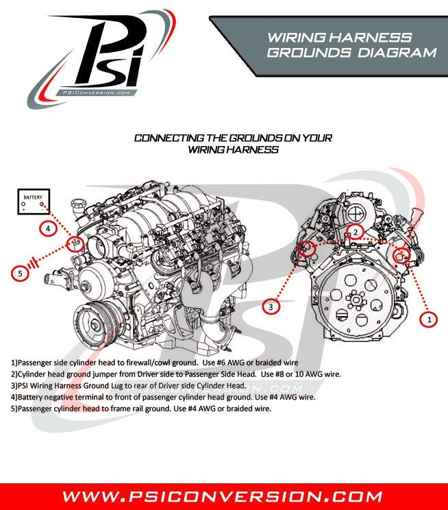 psi wiring harness grounds diagram where to connect the grounds on 1994 lt1 engine wiring harness where to connect the grounds on your standalone wiring harness for your lsx motor for all ls1, ls2, ls3, ls6, ls7, ls9, and gm vortec motors