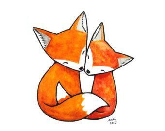 Fox pareja tinta dibujo amor ilustración impresión blanco y negro de la pared decoración regalo boda bosque par rústico Casa Decor 4 x 6 animales arte por mikaart