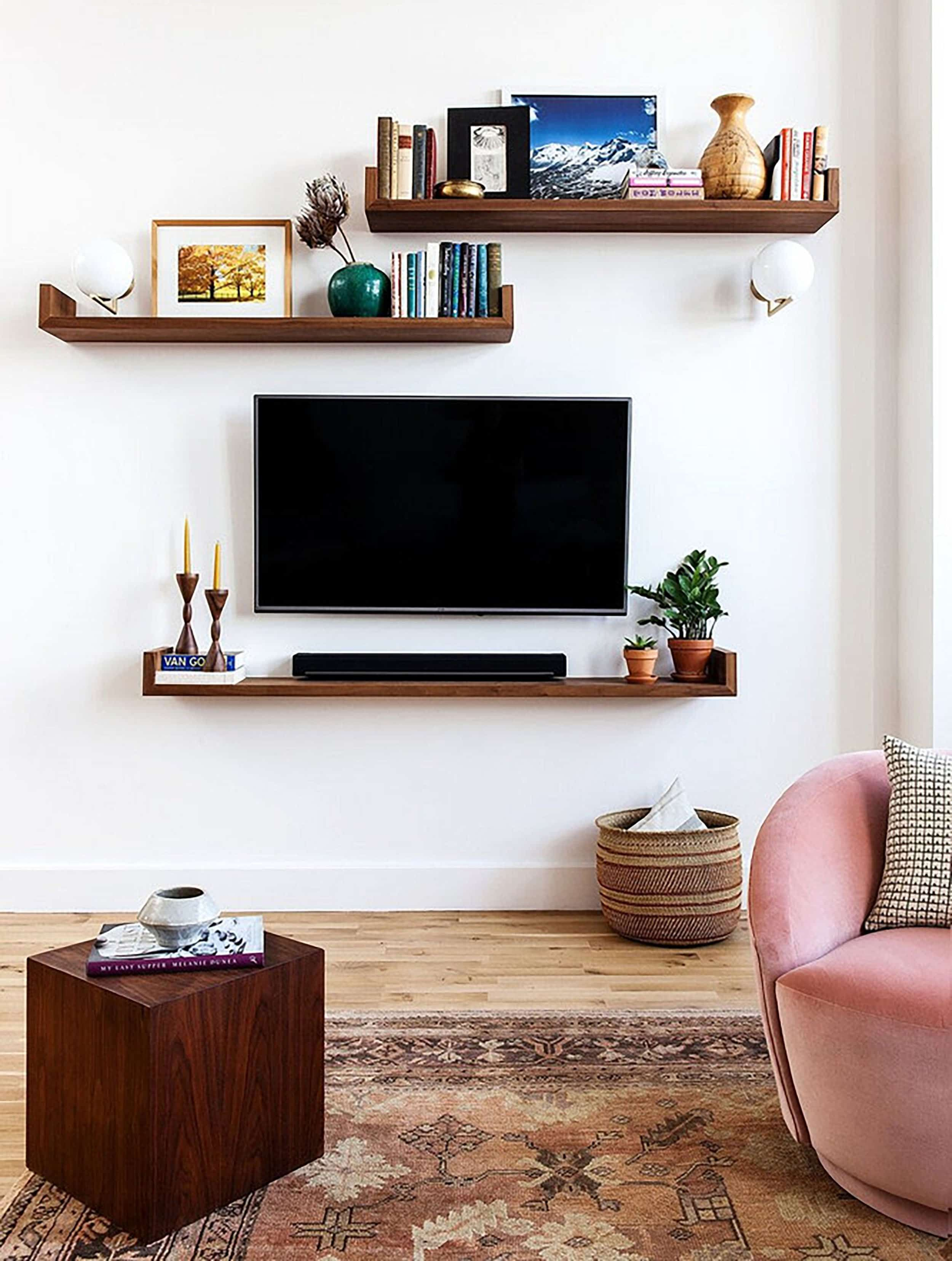 Sara S House Her Awkward Yet Soon To Be Downton Abbey Tv Room Emily Henderson In 2020 Living Room Diy Apartment Living Room Living Room Tv Wall #wall #storage #for #living #room