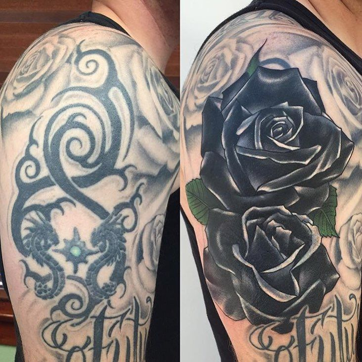 Large cover up in progress by Chad Whitson-Bearcat Tattoo Gallery-Little Italy-San Diego, CA