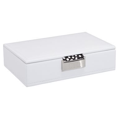 Small Preppy Bonded Leather Jewelry Storage, White