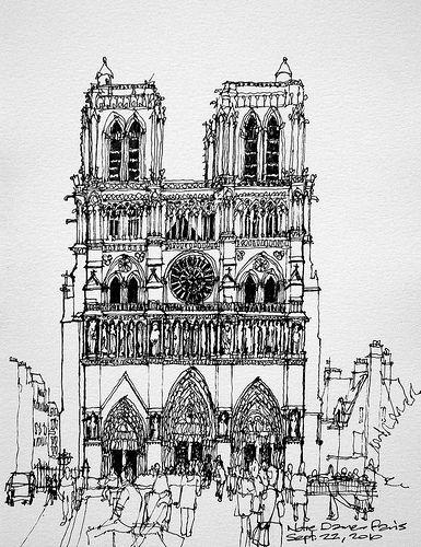 Notre Dame De Paris Disegno.Paris Cathedral Notre Dame In 2020 Urban Sketching Urban