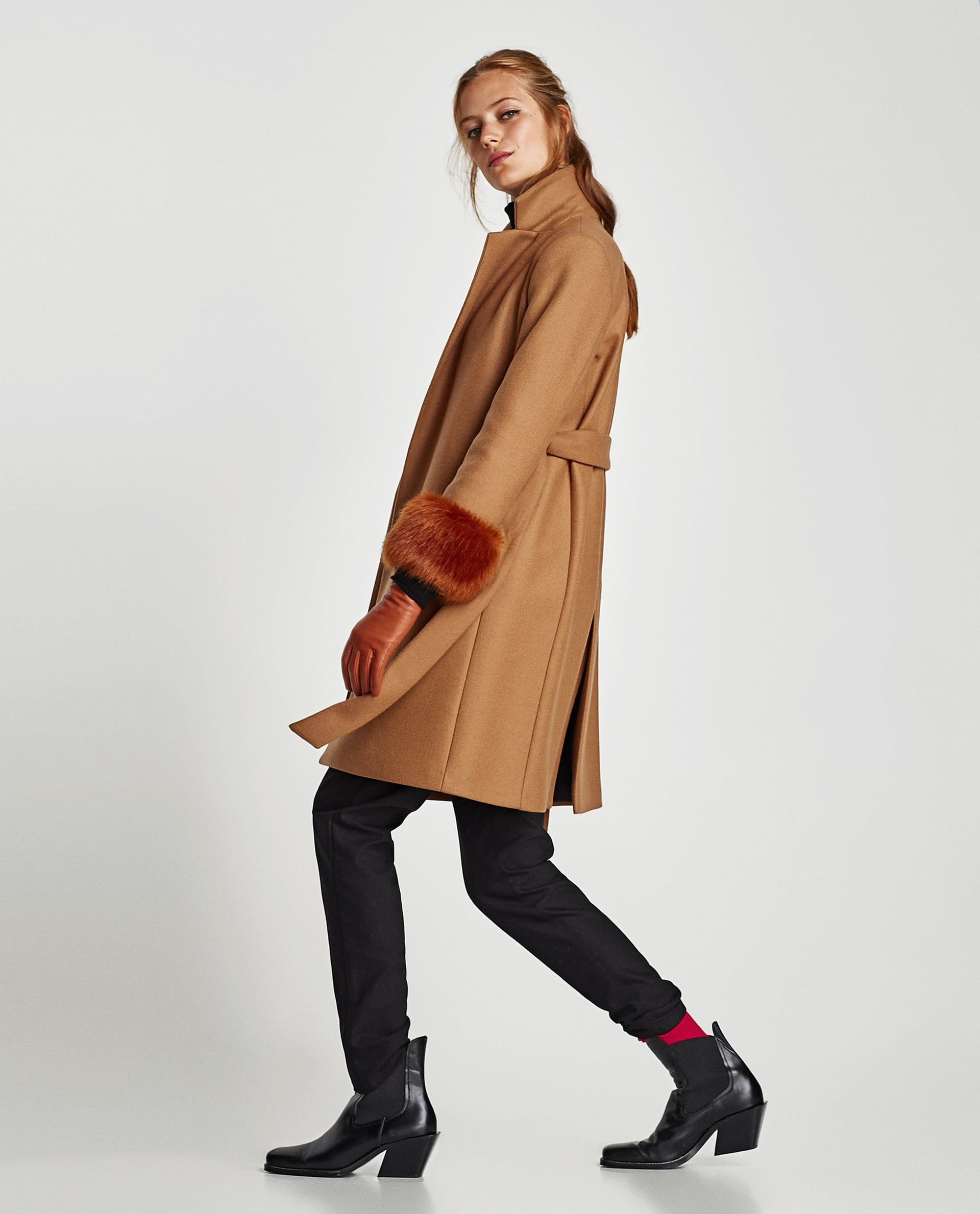 f04ba0e3 Image 3 of COAT WITH TEXTURED CUFFS from Zara | Shop | Coat, Fashion ...