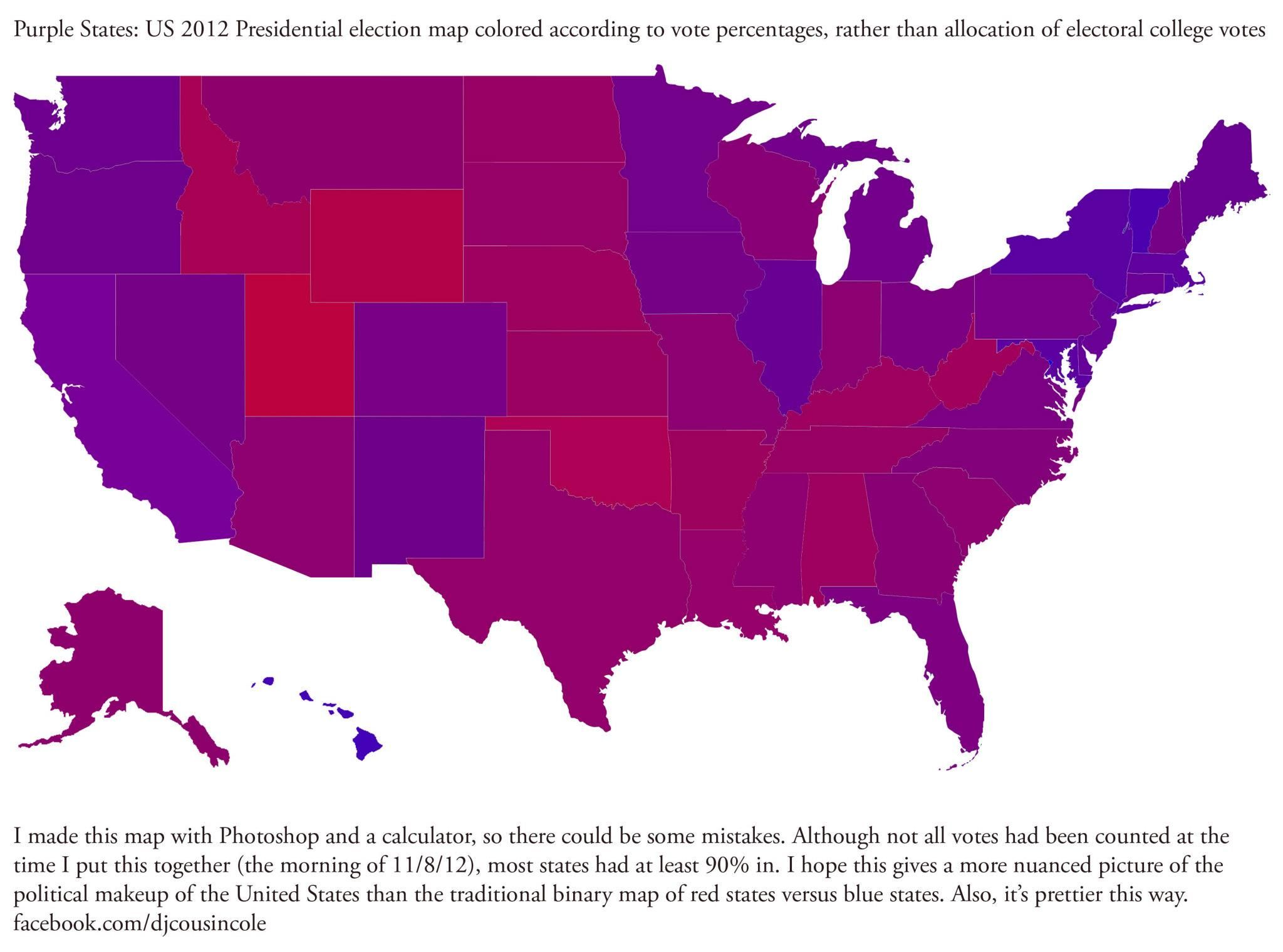 Purple States Not Red Or Blue By Percentages Of The Vote Not