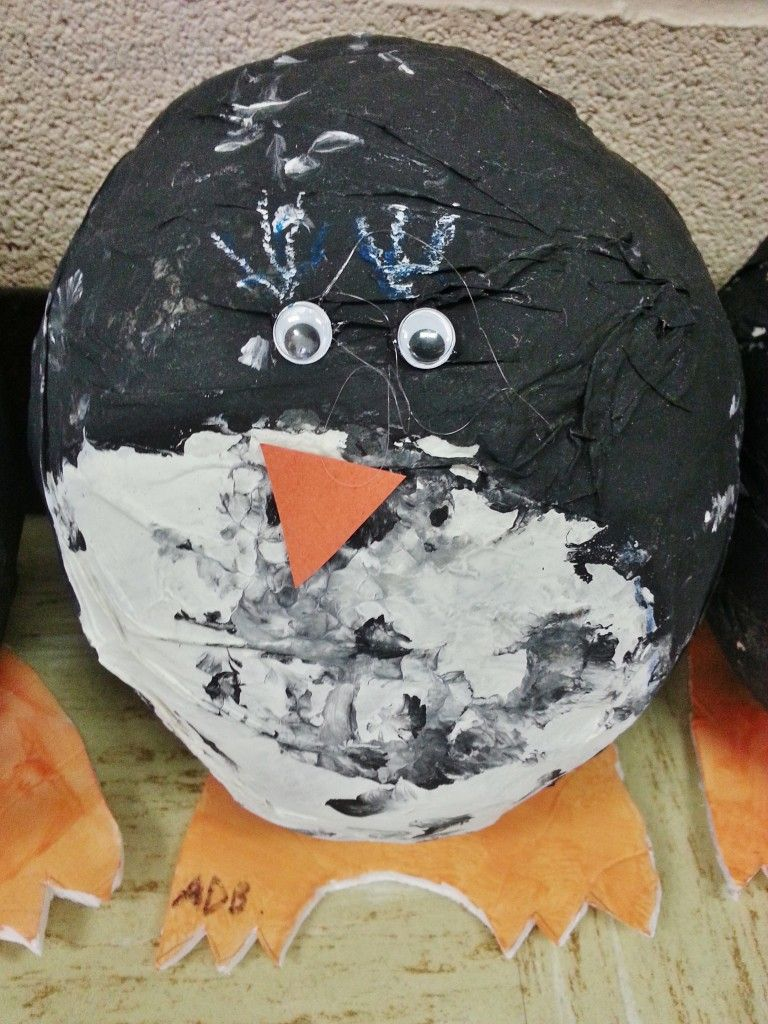 Paper mache penguin project for kids classrooms paper mache penguin paper mache craft for kids jeuxipadfo Images