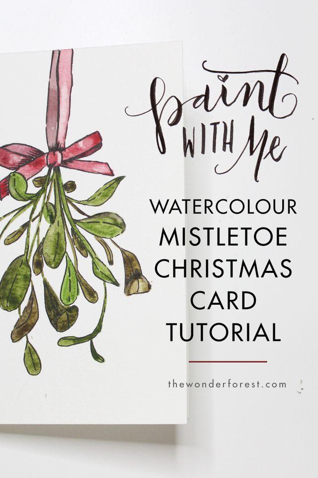 Paint With Me Mistletoe Watercolour Christmas Card Tutorial