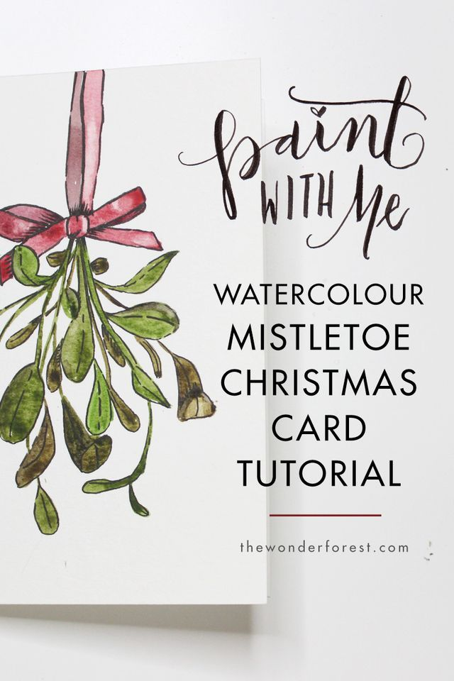 Paint With Me Mistletoe Watercolour Christmas Card Tutorial
